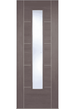 Internal Door Medium Grey Laminate Vancouver with Clear Glass Prefinished