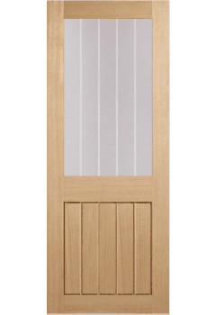 Internal Door Oak Mexicano Half light with Clear Glass and Frosted Lines Untreated
