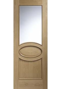 Internal Door Oak Calabria with Clear Bevelled Glass and Raised Moudings Untreated