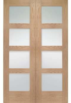 Internal Door Pair Oak Shaker With Clear Glass Untreated SPECIAL OFFER