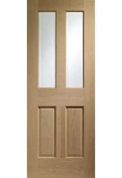 Internal Door Oak Malton with Clear Bevelled Glass and No Raised Mouldings Unfinished