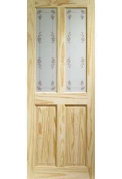 XL Internal Door Knotty Pine Victorian with Bluebell Glass