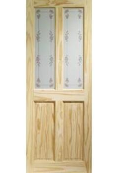 XL Internal Door Knotty Pine Victorian with Bluebell Glass