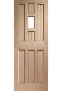 XL External Door Hardwood Stable 1 Light Unglazed