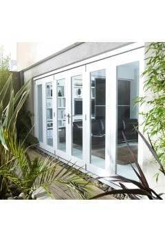 14ft External White Nuvu Pre Finished Folding Door Set 4.2M