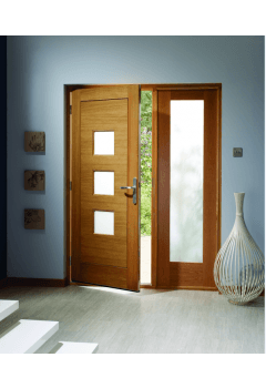 External Door Oak Turin with Obscure Glass, Pattern 10 Sidelight and Sidelight Frame Kit