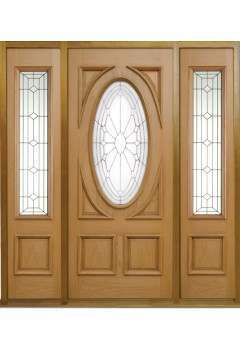 External Door Oak Sovereign Door with 2 x Empress Sovereign Sidelights and Sidelight Frame Kit