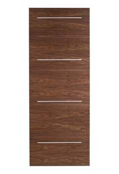 Internal Fire Door Walnut Murcia with Chrome Inlays Prefinished
