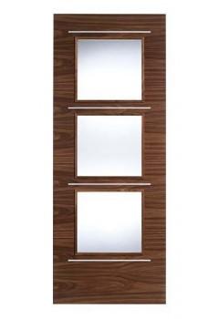 Internal Door Walnut Murcia with Chrome Inlays and Clear Glass Prefinished
