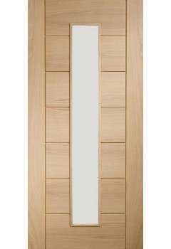 "CLEARANCE Internal Door Oak Palermo 1 Light Clear Glass SATIN CLEAR LACQUER (80"" X 32"")"