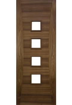 Internal Door Walnut Pamplona with Clear Glass Prefinished