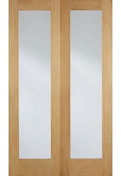 Internal Door Pair Oak Pattern 20 with Clear Glass Untreated