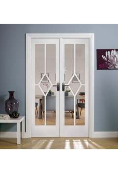 Internal Room Divider W4 White Primed Reim Diamond with Clear Bevelled Glass