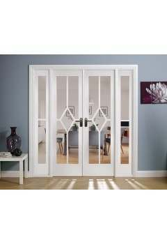Internal Room Divider W6 White Primed Reim Diamond with Clear Bevelled Glass