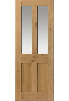 Internal Door Rustic Oak 4 Panel Glazed Prefinished