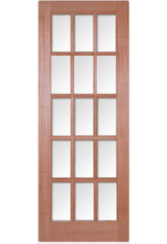 Internal Door Hardwood SA 15 Light with Clear Bevelled Glass Untreated