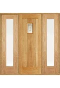 External Door Set Oak Suffolk Part Obscure Double Glazed with Two frosted Sidelights and Sidelight Frame Kit