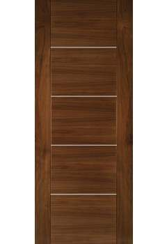 Internal Door Walnut Valencia with Aluminium Inlays Prefinished SPECIAL OFFER
