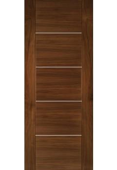 Internal Door Walnut Valencia with Aluminium Inlays Prefinished SPECIAL OFFER