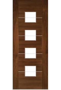 Internal Door Walnut Valencia with Aluminium Inlays Glazed Prefinished SPECIAL OFFER