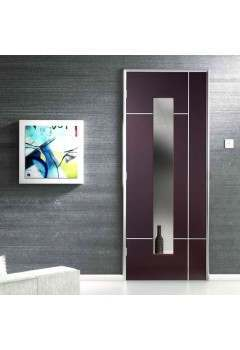 "Internal Door Wenge Caserta with Aluminium Inlay Clear Glass Prefinished CLEARANCE (1 @ 30"")"