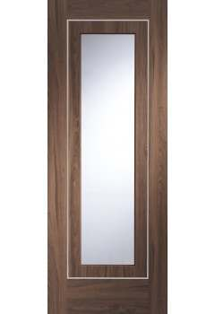Internal Door Walnut Varese with Clear Glass Pre finished with real aluminium inlays