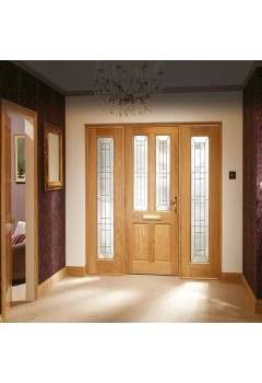 External Door Oak Malton Diamond with Two Sidelights and Sidelight Frame Kit