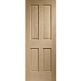 Internal Fire Door Oak Victorian 4 Panel with no Raised Mouldings Unfinished