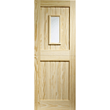 XL External Door Pine Stable 1 Light with Clear Glass
