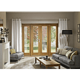 External French Door 5ft Oak La Porte Doorset XL With Sidelight Frame Pre Finished