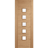 Internal Door Oak Carini 5 Light with Clear Glass Unfinished LPD