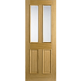 Internal Door Oak Richmond with Clear Bevelled Glass with Raised Mouldings prefinished