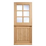 External Door Oak Stable 6 Light Clear Double Glazed