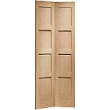 Internal Door Oak Shaker Bi Fold Untreated