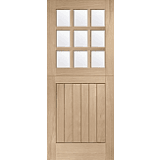 External Oak Door Stable 9 Light with Clear Glass Dowelled
